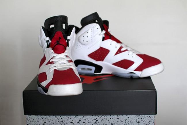 """乔丹2014复刻_2014 复刻款 Air Jordan 6 """"Carmine"""" 胭脂红实物图片 AJ6发售日期2014年 ..."""
