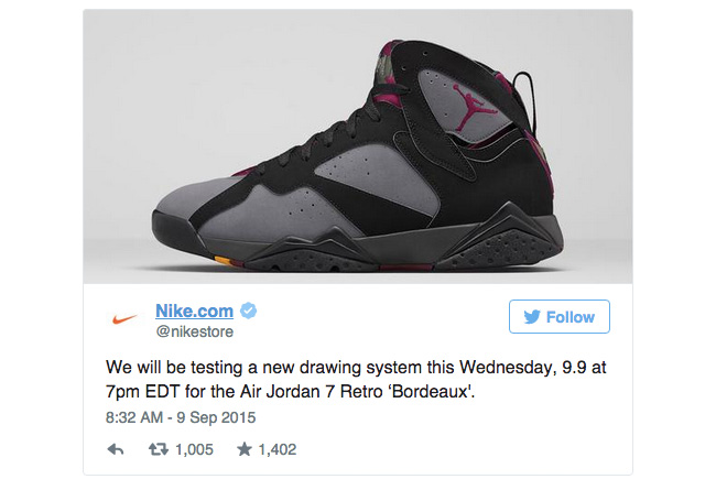 NIke  也抽签!Nike 发布全新线上售卖方式