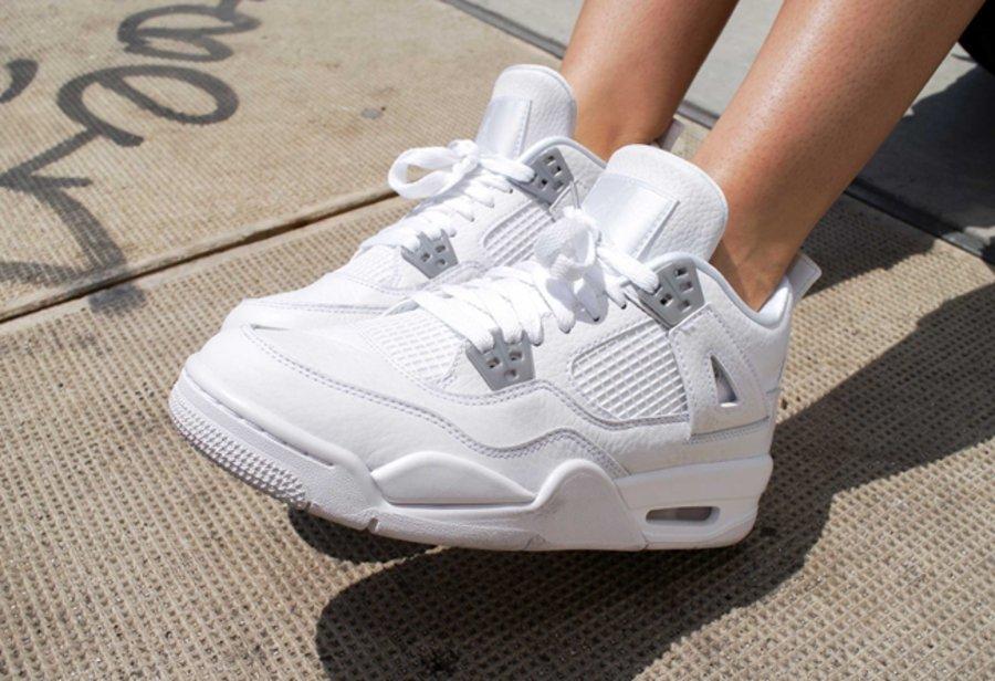 AJ4,Air Jordan 4,408452-100  这双小白鞋人气不低!Air Jordan 4 GS 纯白上脚美图