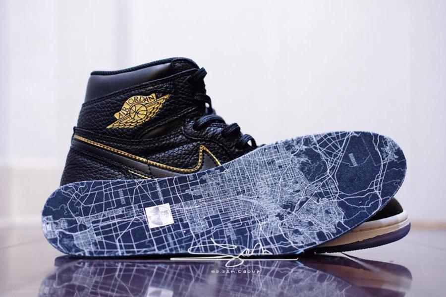 Air Jordan 1,AJ1,555088-031,LA  洛杉矶地图是亮点!全明星主题 Air Jordan 1 实物细节曝光