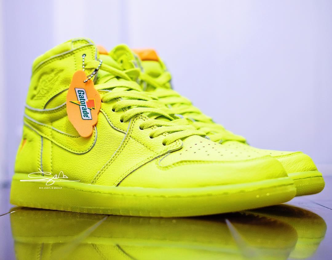 "Air Jordan 1,Gatorade,AJ1  格外亮眼!柠檬黄 Air Jordan 1 ""Gatorade"" 实物细节抢先看!"