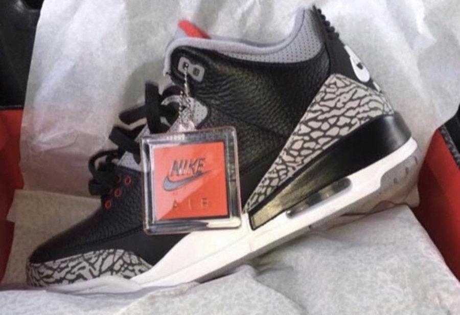 AJ3,Air Jordan 3,854262-001  男款实物首次曝光!黑水泥 Air Jordan 3 将于明年二月发售