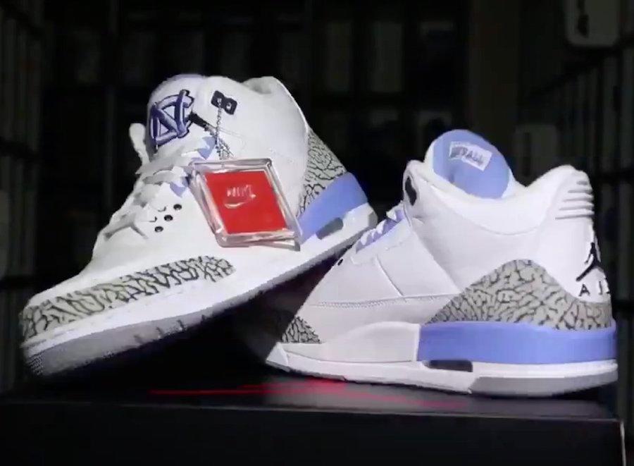 AJ3,Air Jordan 3,UNC  超美北卡配色!稀有 Air Jordan 3 PE 实物欣赏