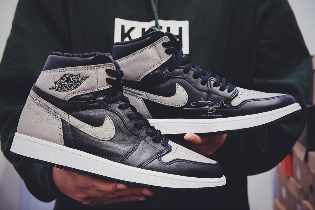 "Air Jordan 1,AJ1,Shadow,555088  实物首次曝光!2018 Air Jordan 1 ""Shadow"" 皮质更柔软!"
