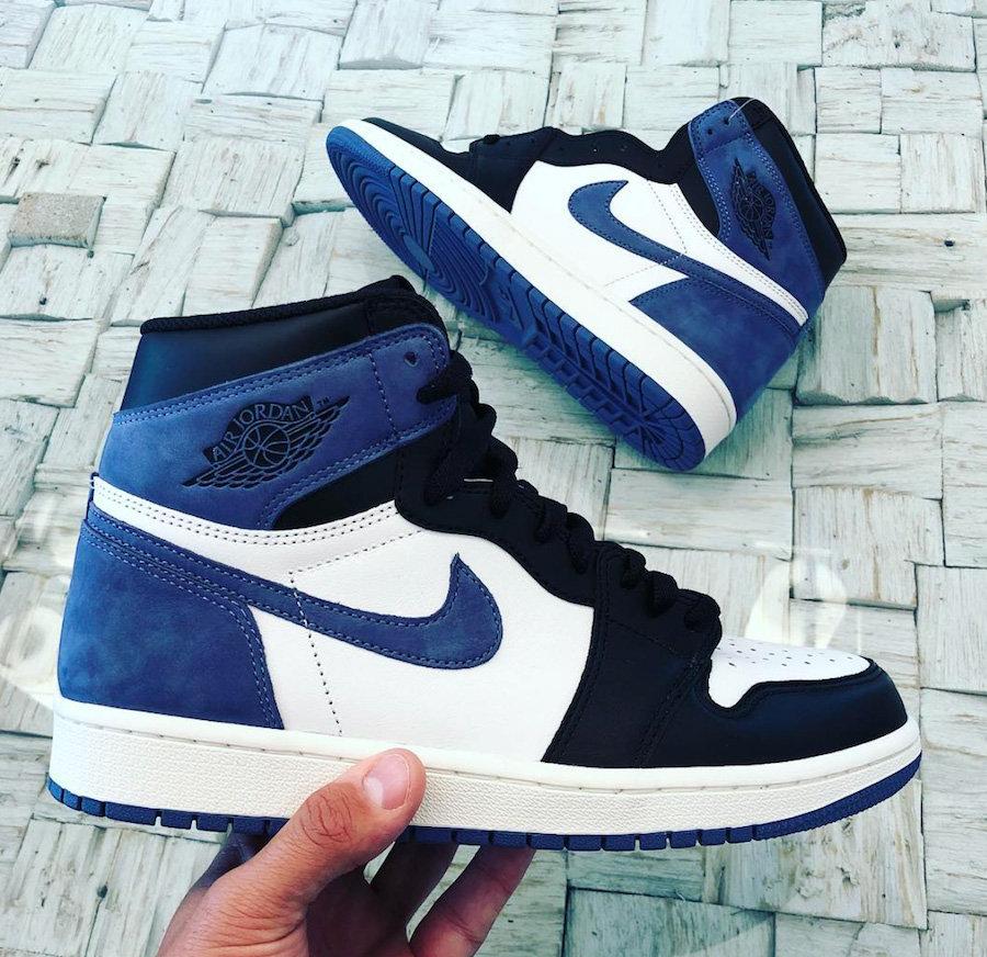 555088-115,AJ1,Air Jordan 1 555088-115 黑脚趾 + 牛巴革!蓝月配色 Air Jordan 1 实物亮相
