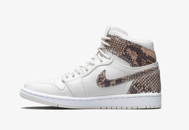 Air Jordan 1,AJ1,AH7389-004,发售  野性蛇纹皮革!Air Jordan 1 白蛇配色将于下月发售