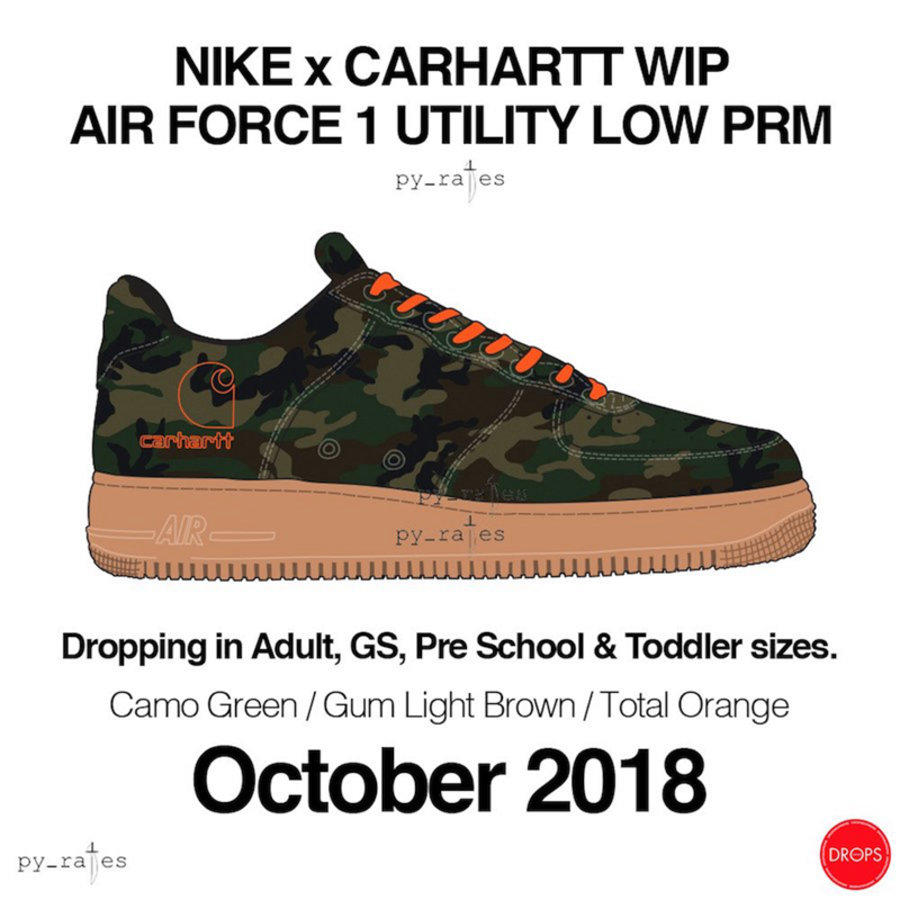 Carhartt,Air Force 1,Nike,发售  实物首度曝光!Carhartt x Air Force 1 将于 10 月发售