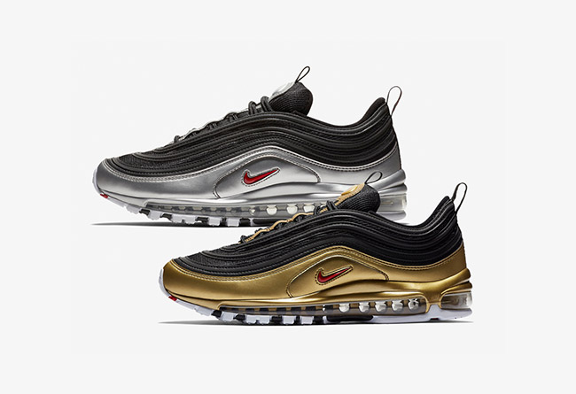 """Air Max 97,Nike,发售,AT5458-001,  金子弹 + 银子弹!Air Max 97 """"Metallic Pack"""" 下周发售"""