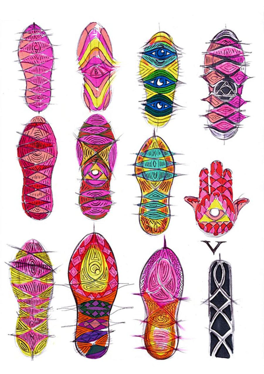 鞋底图案的设计灵感来源于欧文左臂上的法蒂玛之手纹身,这对他而言图片