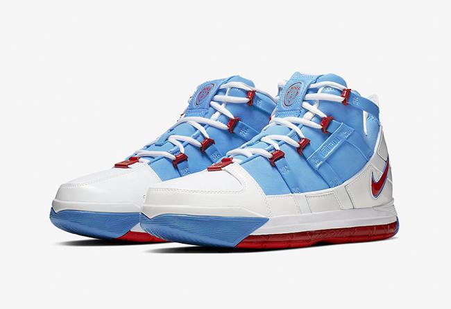Nike,Zoom LeBron 3,AO2434-400  纪念詹皇首个 MVP!Nike LeBron 3 PE 配色即将发售