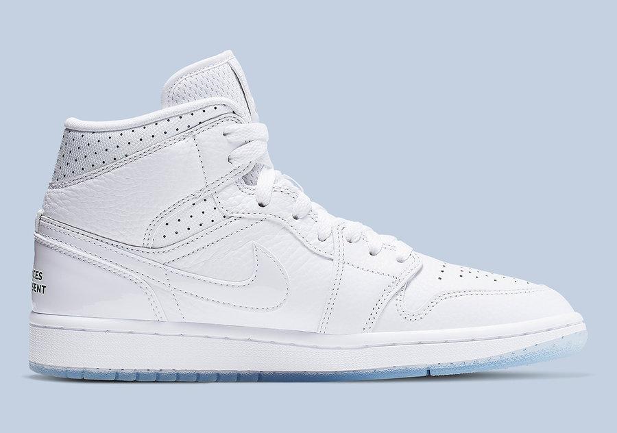 Air Jordan 1 Mid,发售,CI9100-100  水晶底小白鞋来了!全新 Air Jordan 1 Mid 下周发售