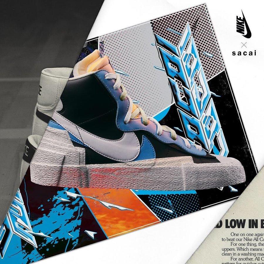 Nike,sacai,Blazer Mid  发售店铺来了!Sacai x Nike Blazer Mid 入手难度不小!
