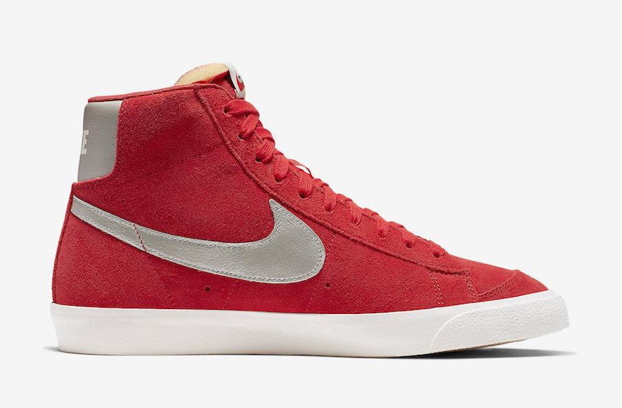 Nike,Blazer Mid,发售,CJ9693-600  抢眼大红色调 + 麂皮鞋身!Blazer Mid 新配色近期发售!