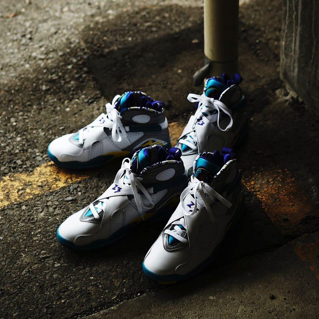 """Air Jordan 8 """"White Aqua"""",AJ8,  重现经典「水鬼」配色! Air Jordan 8 """"Aqua"""" 实物美图欣赏!"""