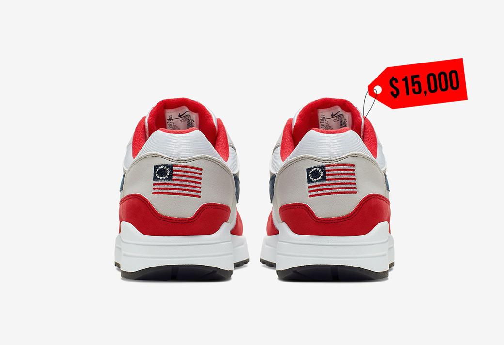 """CJ4283-100,Air Max 1,Nike CJ4283-100 美国独立日 Air Max 1 """"Betsy Ross"""" 市场价超 10W RMB!"""