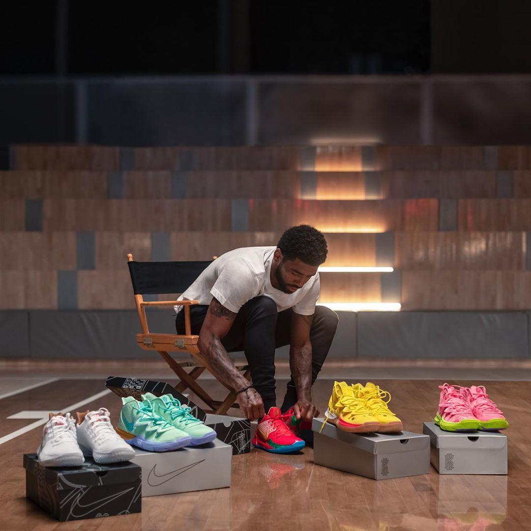 海绵宝宝,Nike,Kyrie 5,发售,明星,上脚  欧文上脚亲晒!海绵宝宝 x Nike Kyrie 鞋款完整曝光