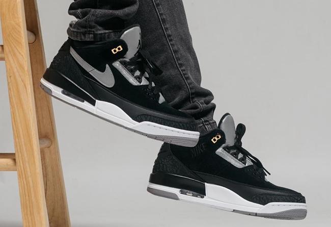 """Nike,Air Jordan 3,新乐园国际娱乐在线3,CK4348-0  醒目金扣〓点缀!黑水泥 Air Jordan 3 """"Tinker"""" 上脚美图来∏了!"""