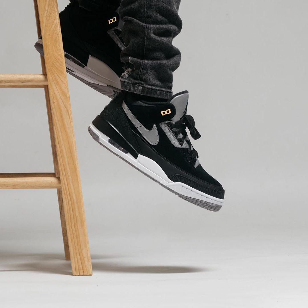 """Nike,Air Jordan 3,新乐园国际娱乐在线3,CK4348-0  醒目金扣点』缀!黑水泥 Air Jordan 3 """"Tinker"""" 上脚美图】来了!"""