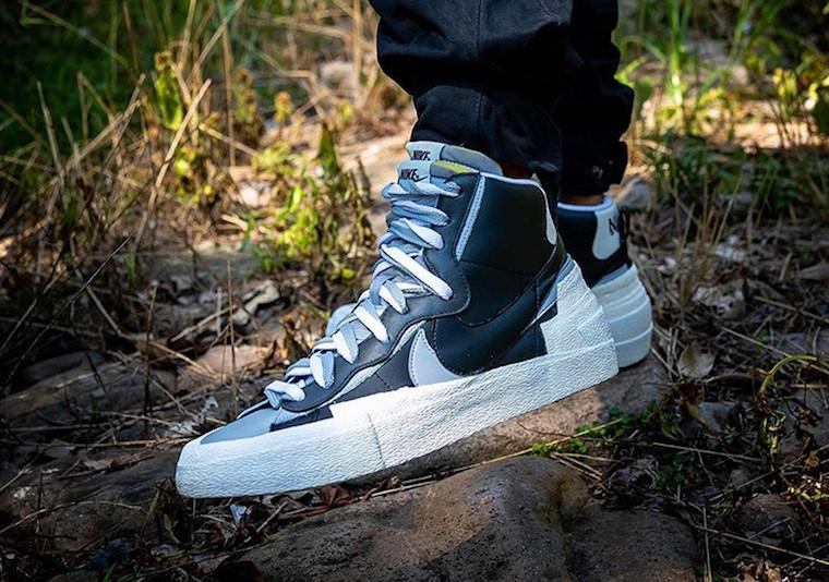 Sacai,Nike,Blazer Mid,上脚,发售  超酷黑灰装扮!Sacai x Nike Blazer Mid 新配色秋季发售