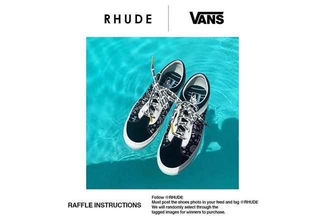 RHUDE,Vans,  别具匠心的拼接腰果花! RHUDE x Vans 联名系列有望 10 月发售!