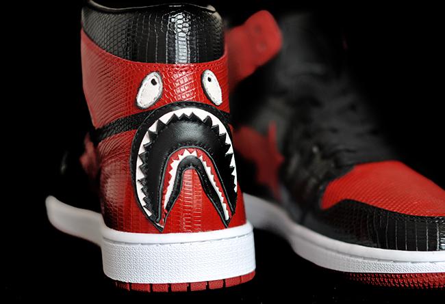 BAPESTA,Air Jordan 1,AJ1  售价 ¥8000!黑红 BAPESTA x Air Jordan 1 做工极致奢华