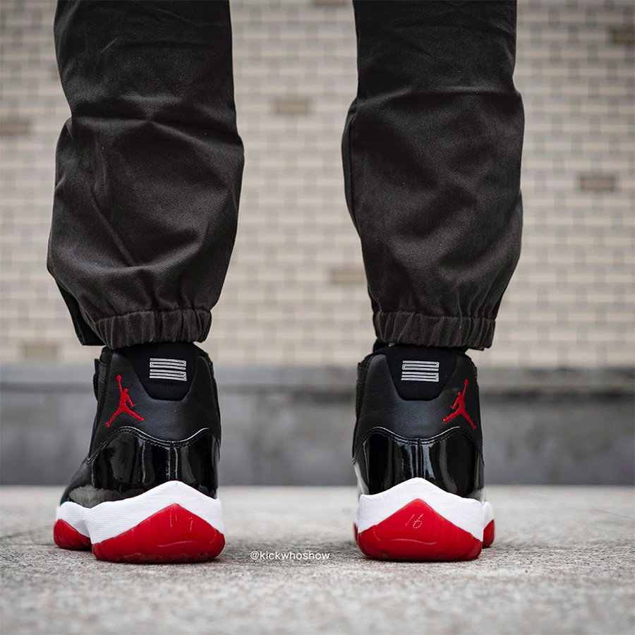 378037-061,AJ11,Air Jordan 11, 378037-061 Bred 实物上脚太帅了!黑红 AJ11 的发售已经不远了!