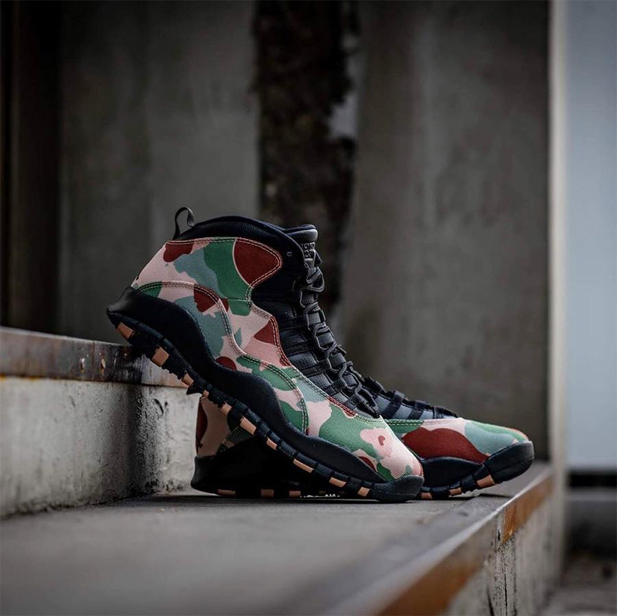 "AJ10,Air Jordan 10,310805-200 310805-200 浓浓军事风!Air Jordan 10 ""Camo"" 鞋面质感也格外特别"