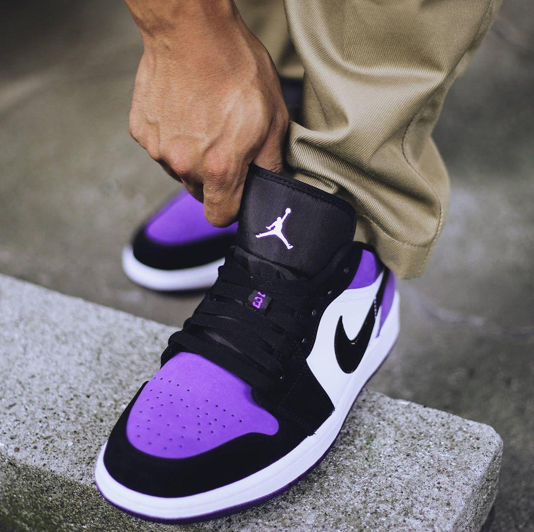 AJ1,Air Jordan 1 Low,发售,上脚,553  上脚效果不输高帮!黑紫脚趾 AJ1 Low 现已发售