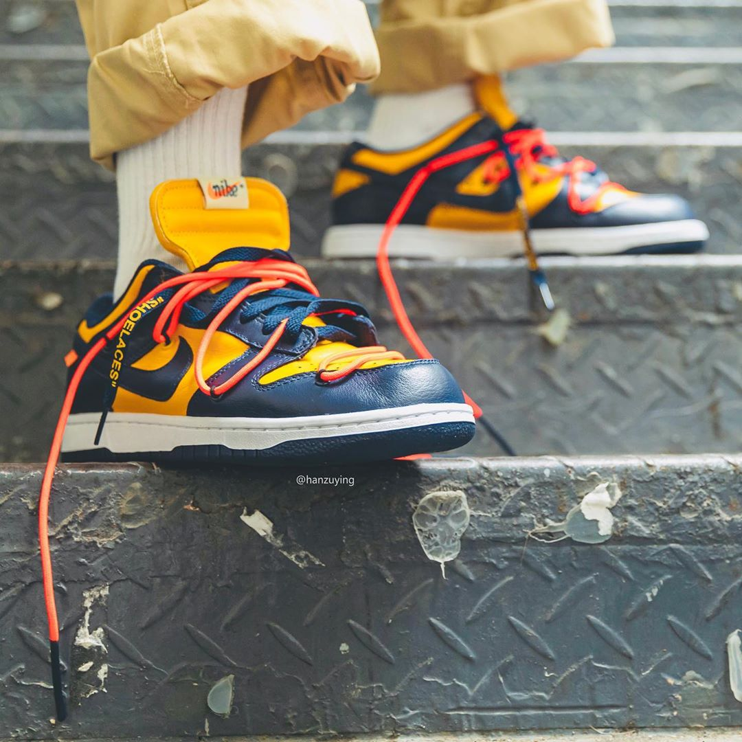 OFF-WHITE,Dunk Low,Nike,上脚,发售  下月即将发售!黄蓝 OFF-WHITE x Dunk Low 上脚图释出