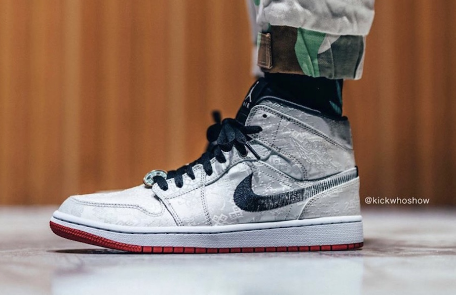 CLOT,Air Jordan 1,AJ1,发售,CU280 谁说八孔都是弟弟?白丝绸 CLOT x AJ1 Mid 上脚真的帅!