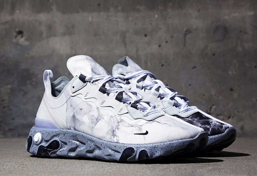 Nike,React Element 55,CJ3312-0 这双高人气跑鞋终于有联名了!大理石阴阳设计,国内本月发售!