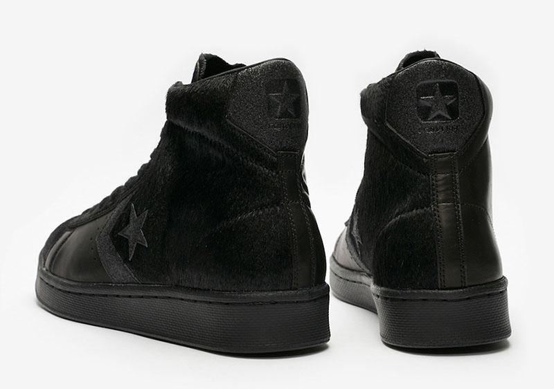 Converse,Pro Leather Mid 纯黑马毛+不对称鞋面!Converse Pro Mid 新品即将发售!