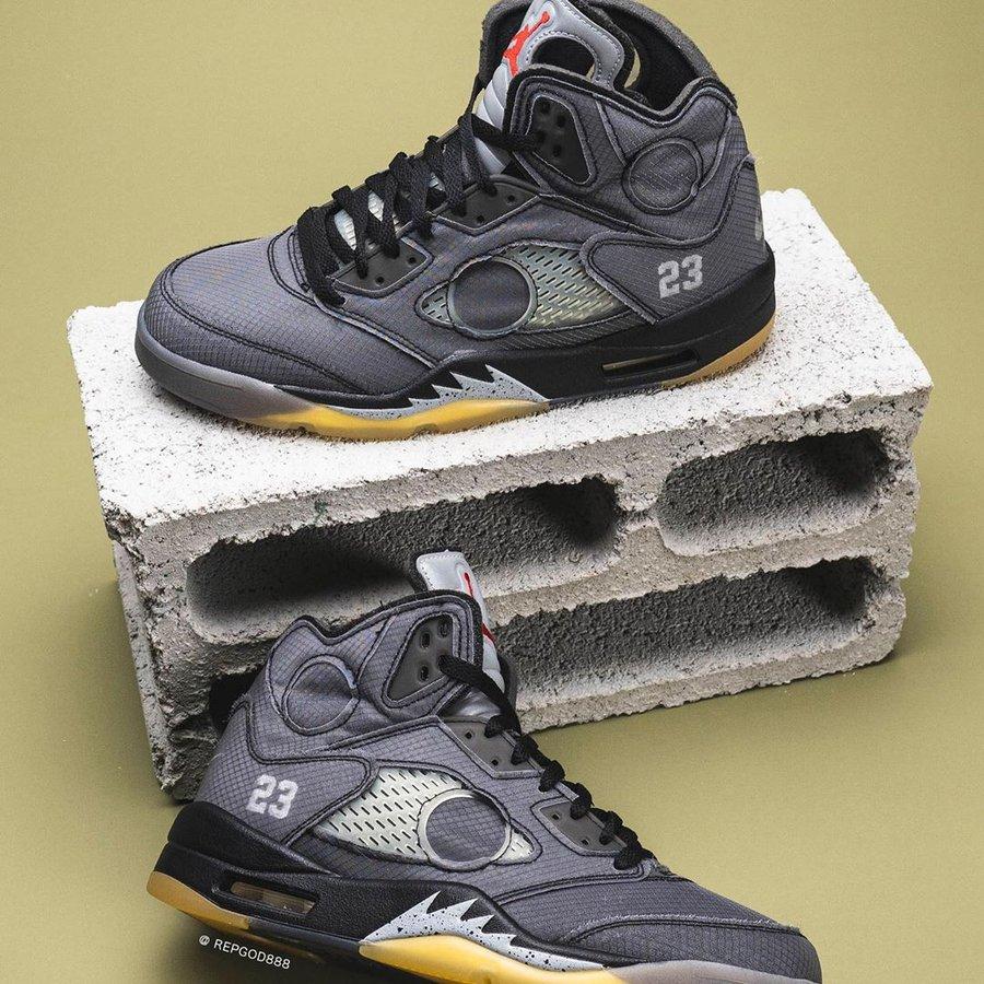 AJ1,OW,OFF-WHITE,Air Jordan 5, OFF-WHITE x AJ5 上脚照首次曝光!金字招牌的周年大招!