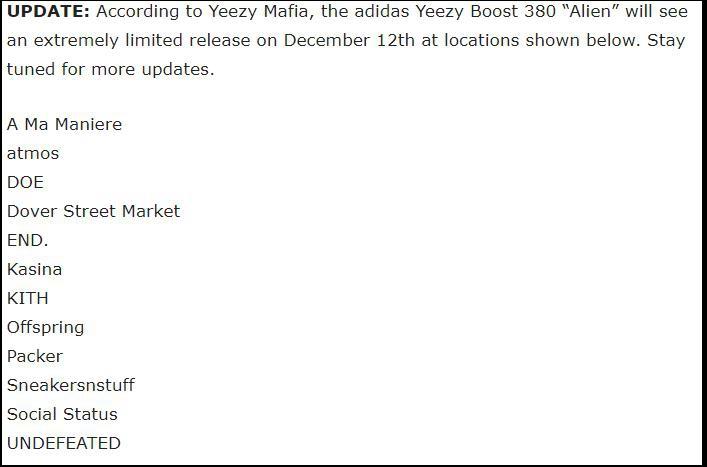 "Yeezy Boost 380,FB6878,adidas  Yeezy Boost 380 ""双 12"" 发售!国内有可能在这 3 家店铺登场!"