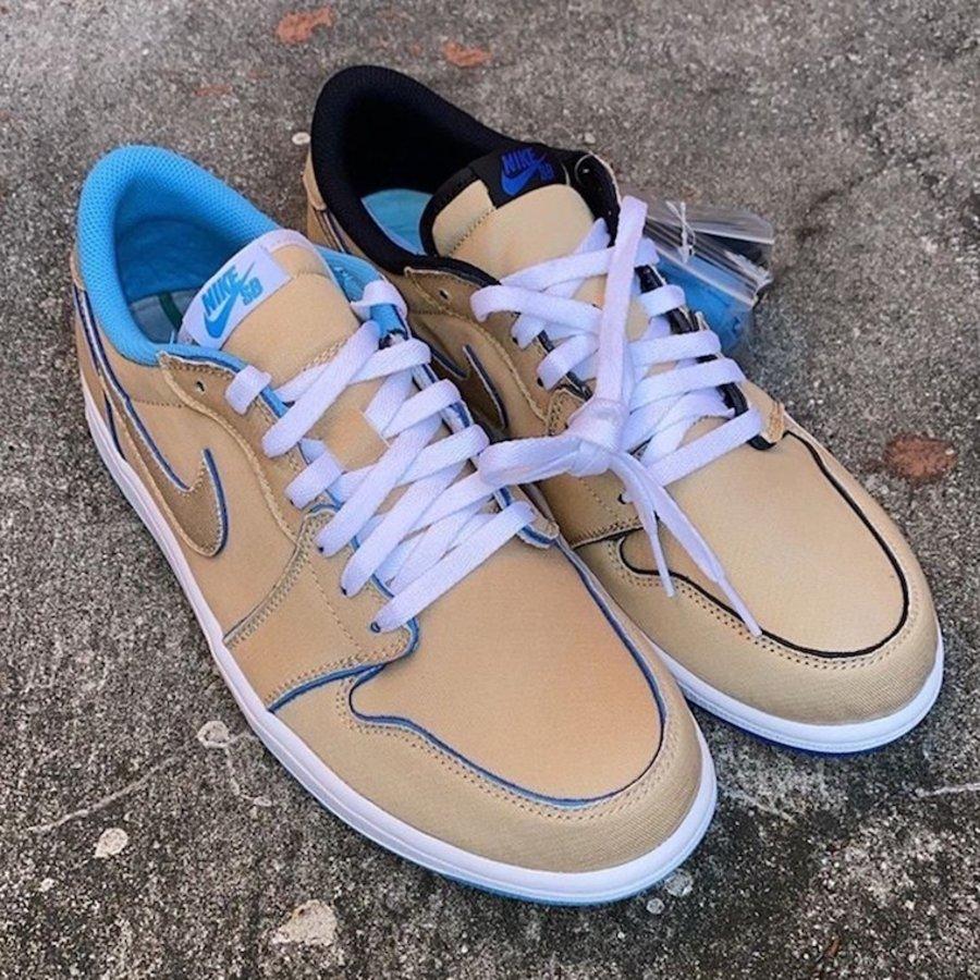 Nike SB,Air Jordan 1,CJ7891-20  经典白北卡 + 黑蓝!鸳鸯刮刮乐 Nike SB x AJ1 Low 下周发售!