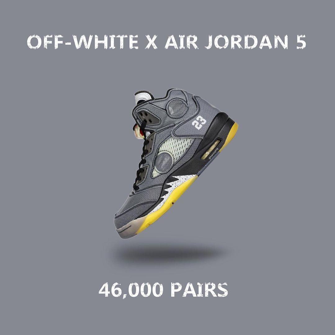 OFF-WHITE,Air Jordan 5,CT8480- OFF-WHITE x AJ5 货量曝光,一张图告诉你是什么水平!