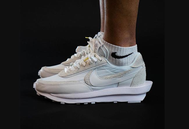 Nike,sacai,LDV Waffle,BV0073-1  顶级奢华小白鞋!纯白 sacai x LDV Waffle 上脚照曝光!