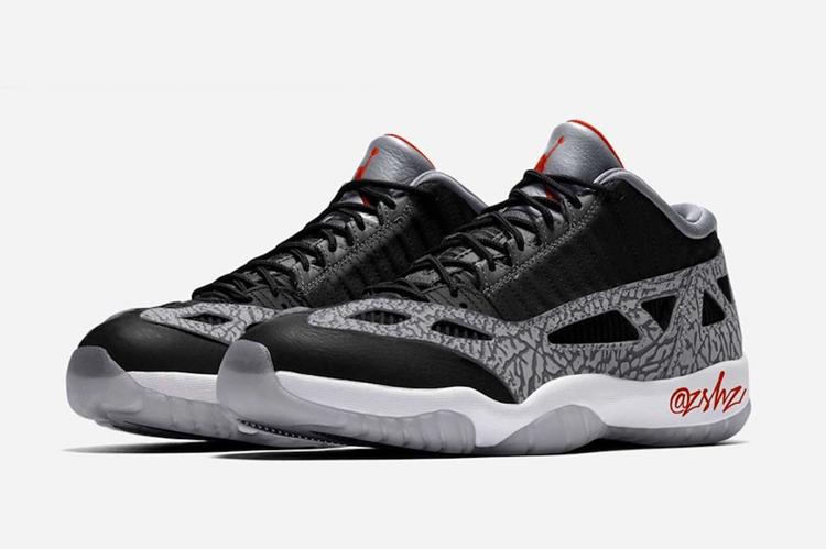 "Air Jordan 11 Low IE ""Black Cement""-货源网"