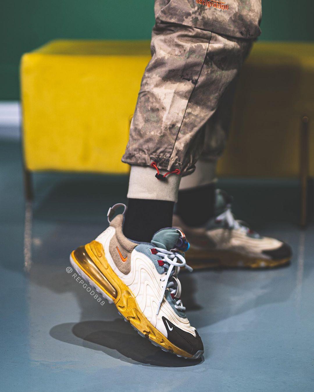 Nike,Air Max 270 React 2020,Tr  Travis Scott 聯名新鞋上腳來了!同款鞋型還有「平民配色」