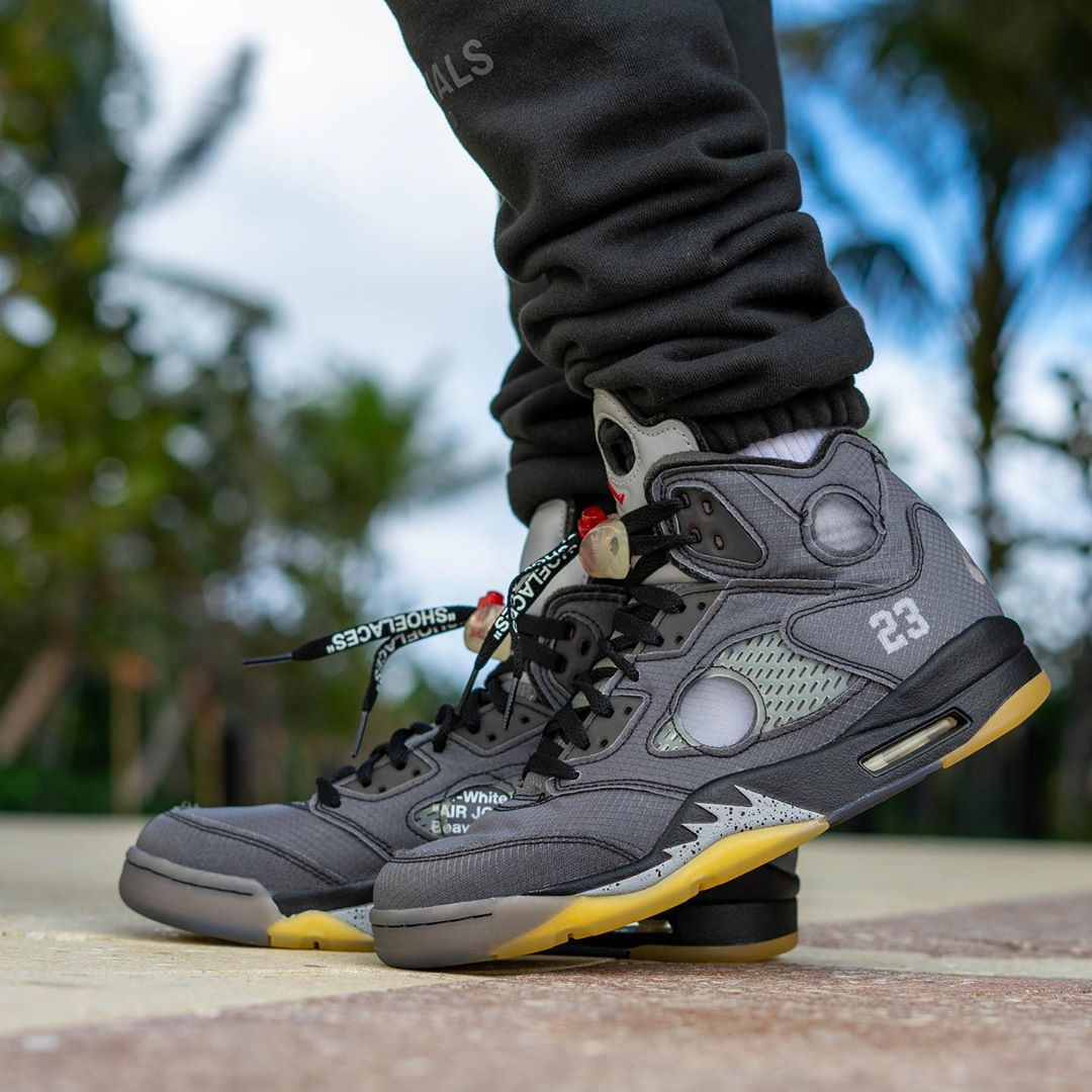Air Jordan 5,AJ5,發售,上腳,CT8480-  OW x AJ5 最新上腳釋出!明年 AJ5 能不能火就看它了!