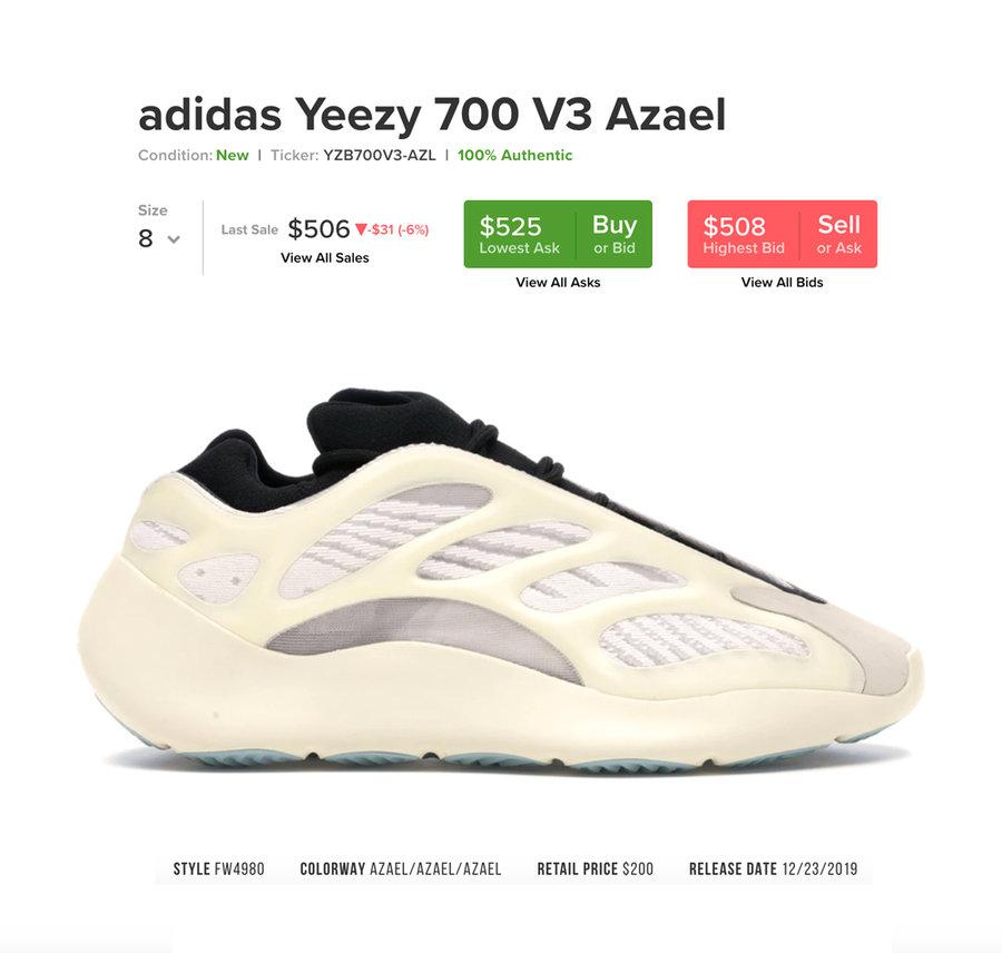 Yeezy,700 V3,发售,FW4980 市价翻了一倍!Yeezy 700 V3 可能是今年的最大黑马!