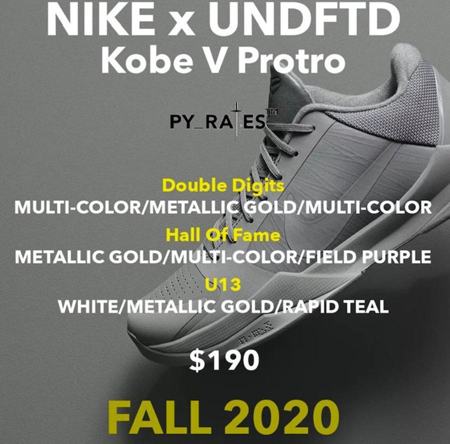 UNDEFEATED,Nike,Kobe 5 Protro UNDEFEATED 持续发力!3 双 Kobe 5 Protro 联名今年发售!