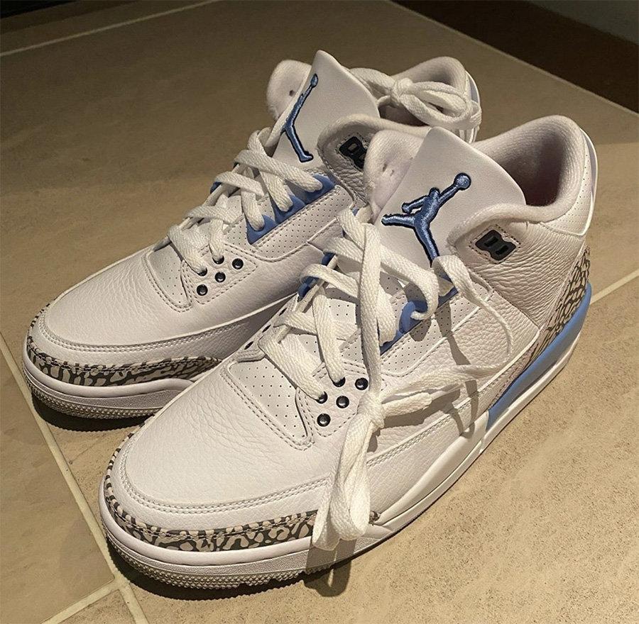 """CT8532-104,AJ3,Air Jordan 3 CT8532-104 北卡 PE 市售!藤原浩提前网晒 Air Jordan 3 """"UNC"""""""