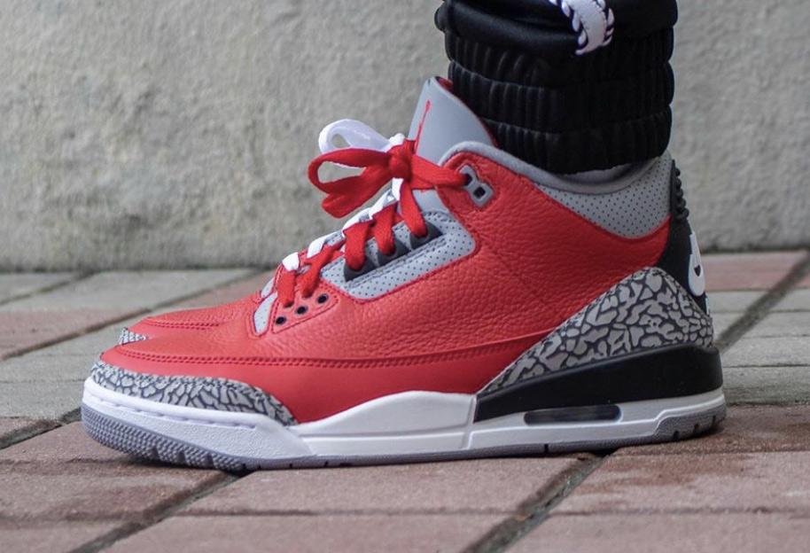 CK5692-600,AJ3,Air Jordan 3 CK5692-600 上脚图首次曝光!红水泥 Air Jordan 3 既经典又喜庆!