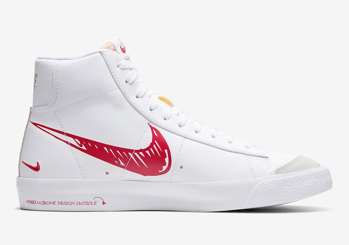 Nike,Blazer Mid,CW7580-100,CW7 又一款手稿涂鸦设计!Nike Blazer Mid'77 官图释出