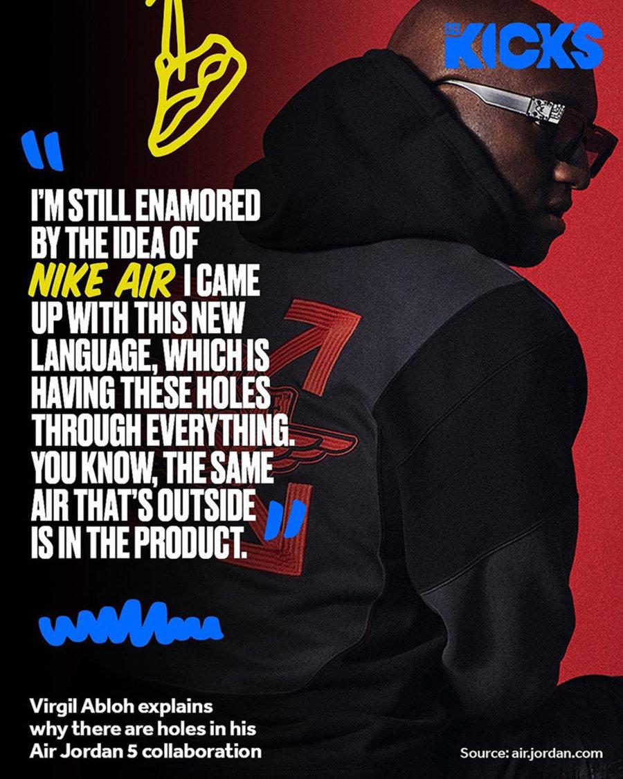 OFF-WHITE,AJ,AJ5,Air Jordan 5,  Virgil 亲自揭秘 OW x AJ5 设计灵感!本周发售!