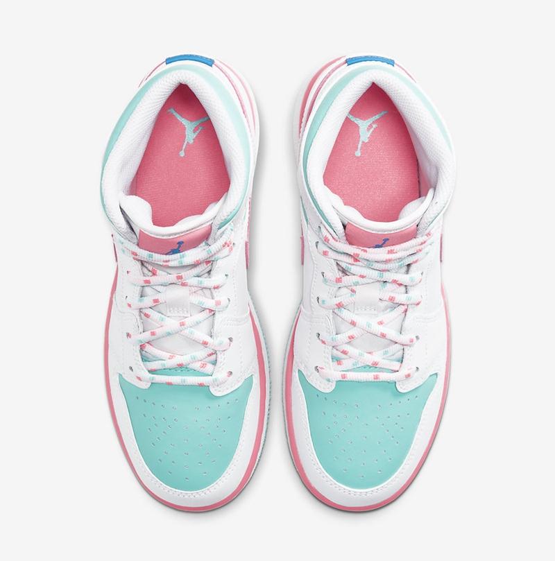 AJ1,Air Jordan 1 Mid GS,Digita 适合春季的甜美配色!这双 AJ1 新品细节还真不少!
