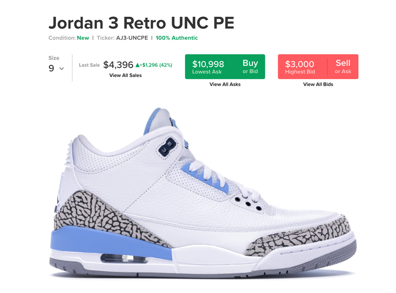 Air Jordan 3,Nike,UNC,发售  换个 Logo 省好几万!北卡 Air Jordan 3 下月发售!美图来了!