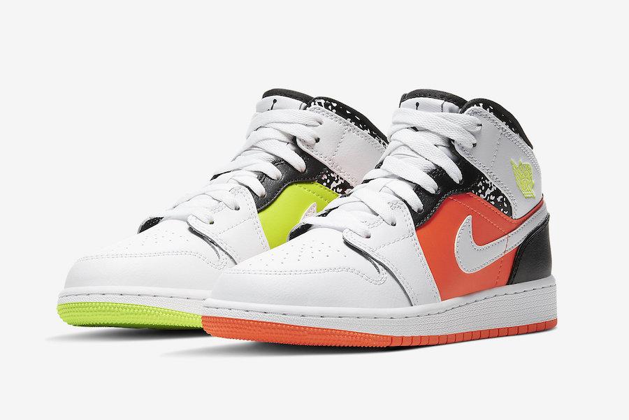 554725-870,Air Jordan 1 Mid,AJ  鸳鸯撞色 + 黑白泼墨!这双 Air Jordan 1 新品吸睛指数爆表!