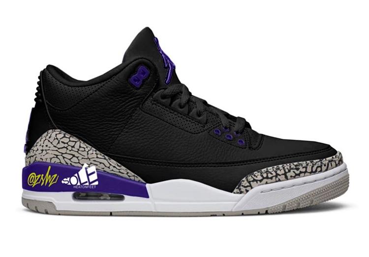 Air Jordan 3,AJ,AJ3,Court Purp  黑紫配色 + 经典爆裂纹!这双 Air Jordan 3 你打几分?